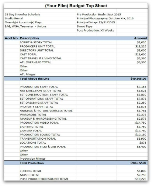 Film Budget Template Sample Movie Production Budgeting Spreadsheet