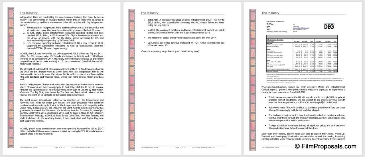 Film Business Plan Template Screenshots